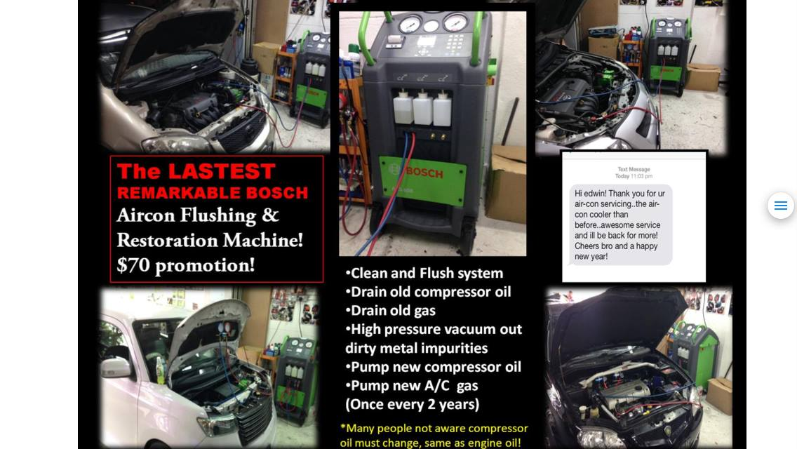 Bosch Aircon Flushing/Servicing/Restoration Package